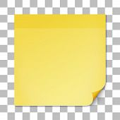 stock photo of tasks  - Yellow stick note on transparent texture background - JPG