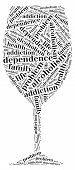 pic of alcohol abuse  - Tag or word cloud alcohol addiction related in shape of glass - JPG