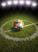 picture of playground  - 3d rendering of a soccer ball on a soccer field of the participating countries in soccer - JPG