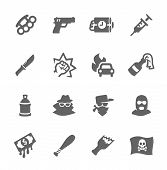 stock photo of outrageous  - Simple set of crime related vector icons for your design - JPG
