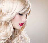 stock photo of wavy  - Beauty Blonde Woman Portrait - JPG