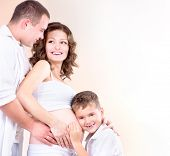 image of baby bump  - Happy Family Expecting Baby - JPG