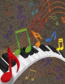 stock photo of rainbow piano  - Wavy Abstract Piano 3D Keyboard with Rainbow Colors Dancing Music Notes Textured Background Illustration - JPG