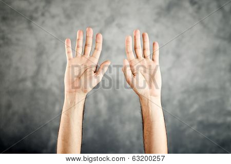 Caucasian Open Hands Raised For Surrender