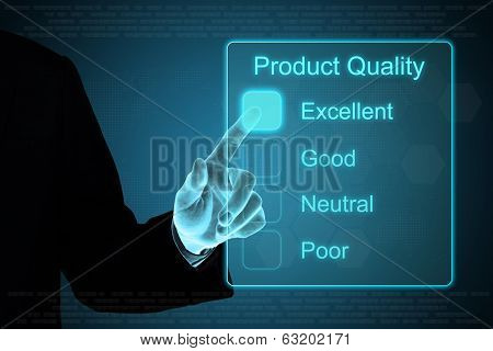Business Hand Clicking Product Quality On Touch Screen