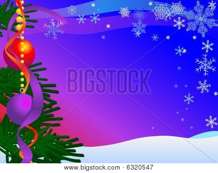 Christmas Card Illustration with snow, sky, snow, snowflakes, baubles and tree : Bigstock