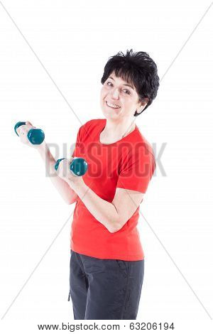 Smiling Woman With Dumb-bells