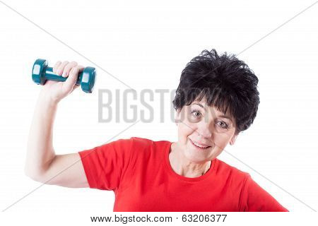 Elderly Woman With A Dumb-bell