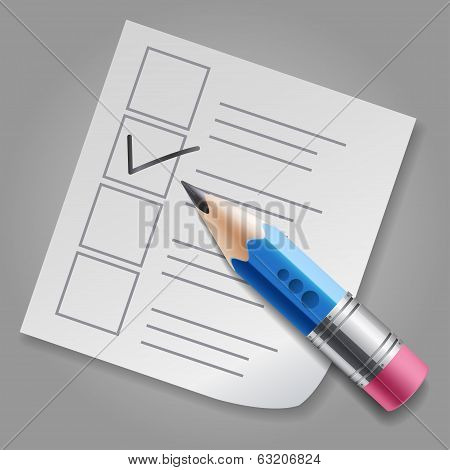Blue pencil and checklist