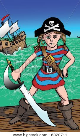 Little Girl Pirate with Attitude Illustration : Bigstock