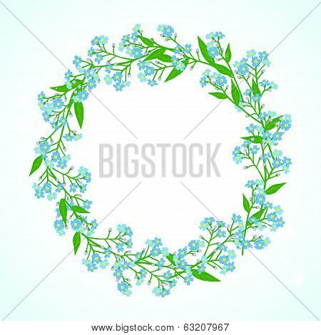 Card with forget me not flowers wreath
