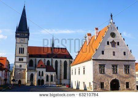 Characteristic architecture in the city Bardejov of Slovakian.Europa.