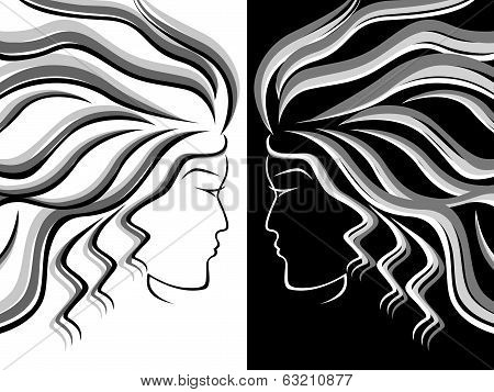 Female Head Silhouettes
