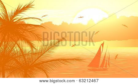 Sailboat Against Yellow Sunset.