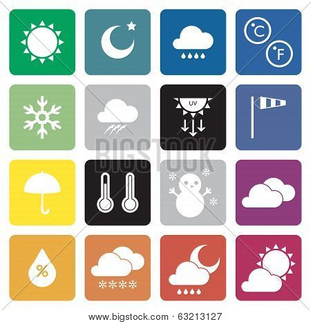 collection of 16 weather sign icons. vector.