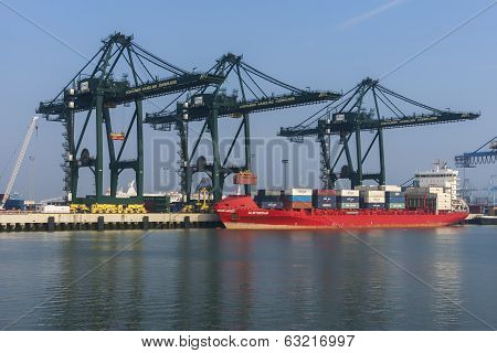 Container Ship In The Harbor Of Zeebrugge-seabruges.