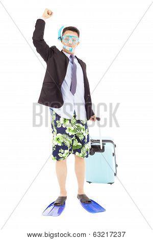 Businessman Put On  Scuba Gear And Raise Hand