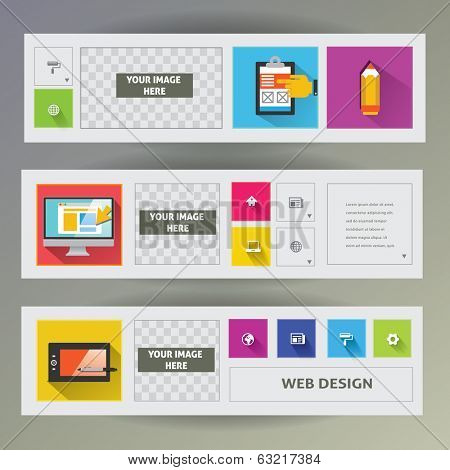 Set of web banners. Web design flat icons