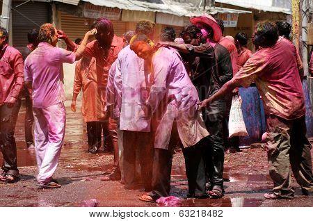 Indian Hindus celebrating Holi festival