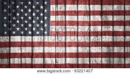 The USA flag painted on wooden plank