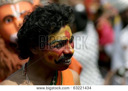 Portrait of indian Hindu tradtionally dressed  during Pongal or sankranti festival