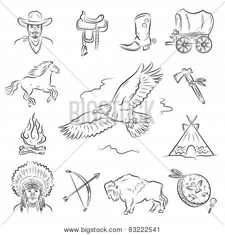 Western Icons Set. A collection of stylish vector images on the theme of the Wild West