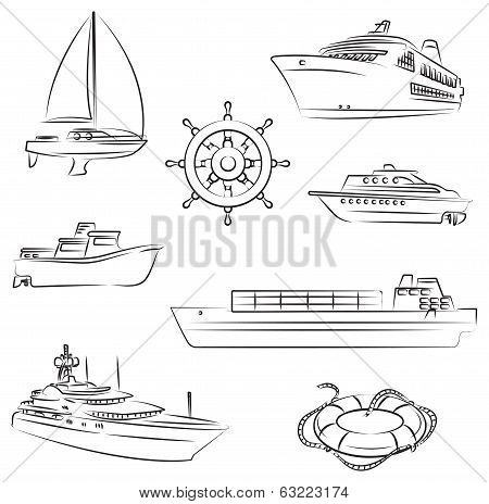 Vector illustration of the Boats and ships