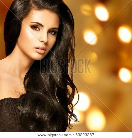 Portrait of a beautiful indian woman with long hairs over art creative background