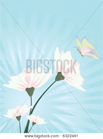 Flower And Butterfly Blue Background 3