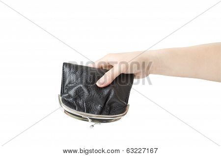hand holds an inverted empty purse isolated on white background