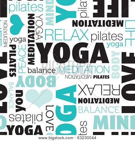 Seamless yoga and meditation body balance typography background pattern in vector