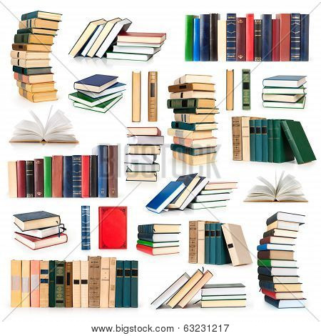 books collection isolated on white background