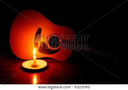 Guitar With Candle Glow