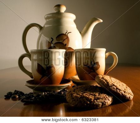 Coffeepot two cups