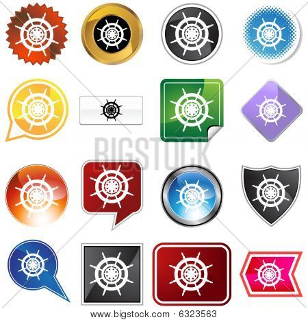 Ship Steering Wheel Icon Set