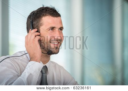 Handsome male telephone operator