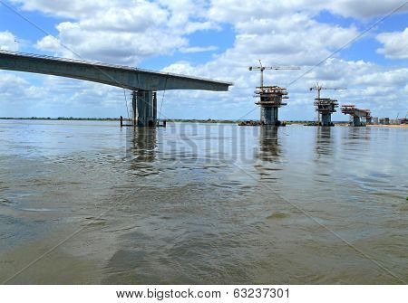 Construction Of A Bridge Over The Zambezi River.