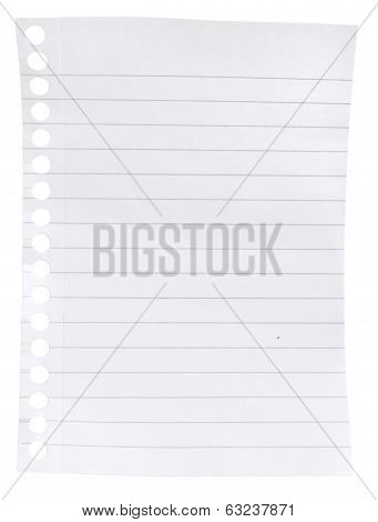 page ripped off from the notebook on an isolated white background