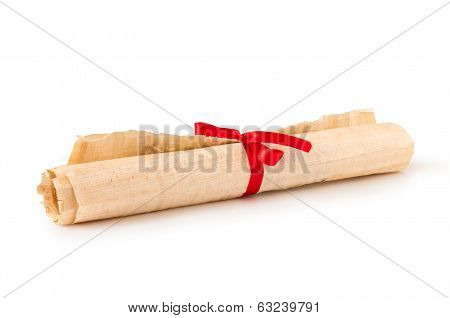 fold vintage paper with ribbon on isolated white background
