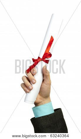 roll of paper with ribbon in hand on isolated white background