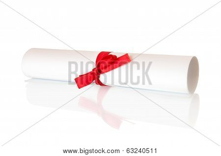roll white paper with a red ribbon on isolated white background