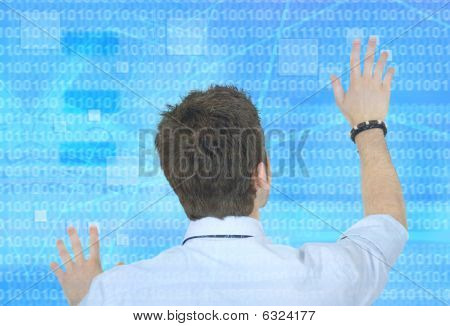 Business Man Touching A Screen