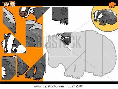 Cartoon Badger Jigsaw Puzzle Game