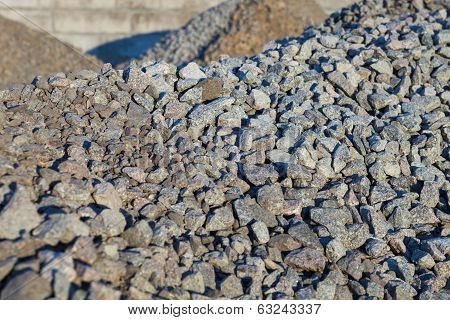 Piles of crushed stones