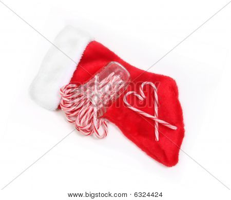 Heart Candy Cane Stocking