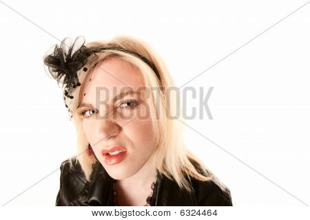 Pretty Blonde Woman With Angry Expression