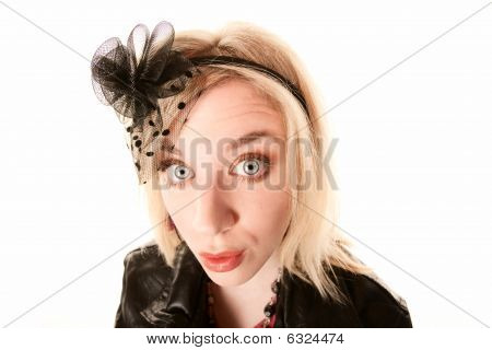 Pretty Blonde Woman With Confused Expression
