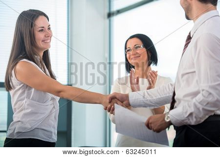 Happy business people sealing an agreement in office