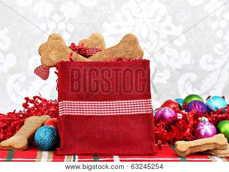 Christmas Bag Filled With Homemade Bone Shaped Dog Biscuits.