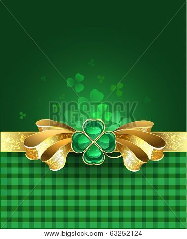 Gold Bow With Clover